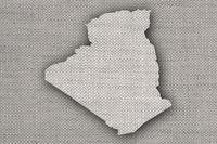 Karte von Algerien auf altem Leinen - Map of Algeria on old linen