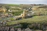 Templar chapel, aerial views of the Spanish city of Segovia. Ancient Roman and medieval city