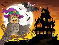 Owl near haunted house theme 2