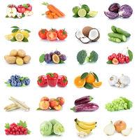 Obst und Gemüse Früchte Sammlung Äpfel, Orangen Bananen Paprika Essen Freisteller