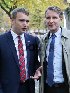 Andre Poggenburg ( Landesvorsitzender AfD Sachsen-Anhalt )und Björn Höcke (Landesvorsitzender AfD Thüringen) auf der Wahlkampfveranstaltung am 12.09.2017 in Magdeburg