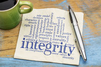 integrity word cloud on napkin with coffee