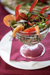 salad with cooked shrimp