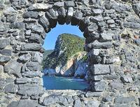 View through Window to Coast of Portovenere at italian Riviera,Liguria,Italy
