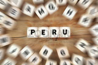 Peru Land Reise Reisen Würfel Business Konzept