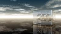die zahl zweihundert in glaswürfel unter wolkenhimmel - 3d illustration