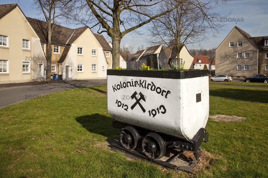 planted mine car in miners district colony Kirdorf, Dortmund, Ruhr Area, Germany, Europe