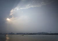 river view and skyline in xiamen city china