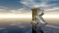 der buchstabe r aus metall unter wolkenhimmel - 3d illustration