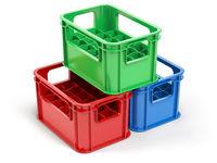 Empty  plastic storage crates for bottles isolated on white background.