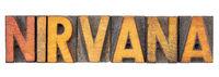 nirvana word in letterpress wood type