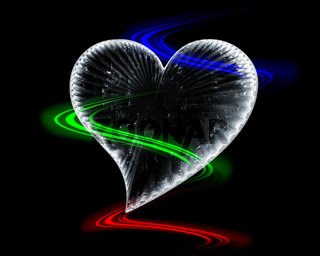 icy heart in the dark with rgb waves around