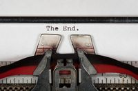 Macro detail of The End on electric typewriter with ribbon