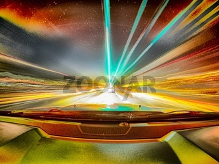 traveling at speed of light abstract long exposure in a car