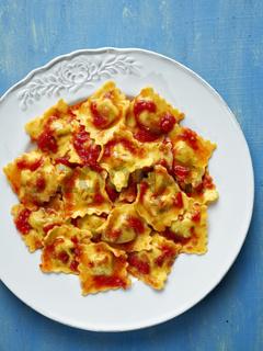 italian ravioli pasta in tomato sauce