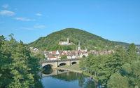 Gemuenden am Main and fraenkische Saale River,Spessart,Bavaria,Germany