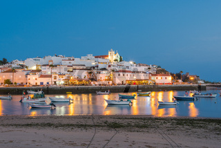 Evening view on illuminated Ferragudo village,Portugal