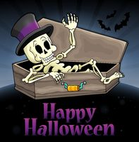 Happy Halloween sign with skeleton