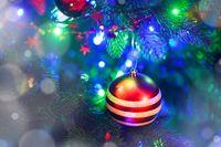 Christmas ball hanging on tree
