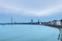 The Rhine in front of Dusseldorf at flood. Long Exposure.