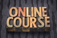 online course banner in letterpress wood type