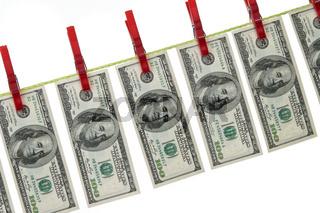 Geldwäsche mit Dollar auf Wäscheleine