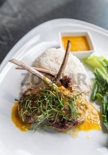 Grilled Lamb steak rice