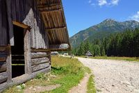The path and a shepherd's house on the Chocholowska Glade, West Tatra, Poland