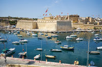 The view of Post of Castile from Kalkara over the Kalkara creek. Malta