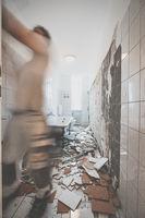 bathroom renovation - removing tiles -  bathroom renovation