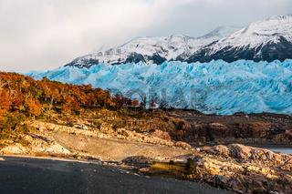 Autumn Colors in Patagonia. Early morning on the glacier Perito Moreno, Argentina