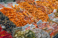 Fish, squid and crustaceans for sale at a market in Madrid, Spain