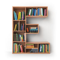 Letter E. Alphabet in the form of shelves with books isolated on white.
