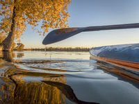 stand up paddleboard on lake with fall colors