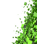 3D - Hintergrund - Flying Cubes Green 01
