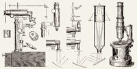 Old microscopes by Nachet, Charles Chevalier, 19th century