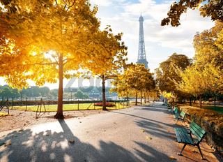 Sunny morning in Paris in autumn