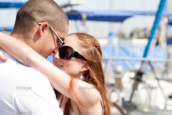 Close up of young couple makeing their love in harbour