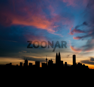 Silhouette Kuala Lumpur city skyline