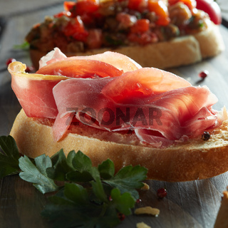 Concept of italian food with bruschetta