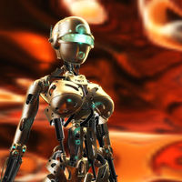 Digital 3D Illustration of a Fembot