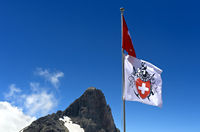 Flag with the logo of the Swiss Alpine Club, SAC, Valais, Switzerland