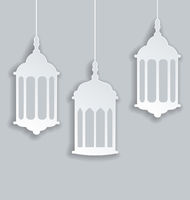 Paper Arabic lamp with shadow for Ramadan Kareem
