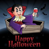 Happy Halloween sign with vampire