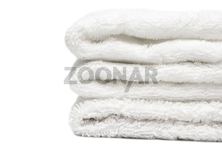 Stack of white towels close-up