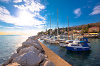 Icici village waterfront and harbor in Opatija riviera