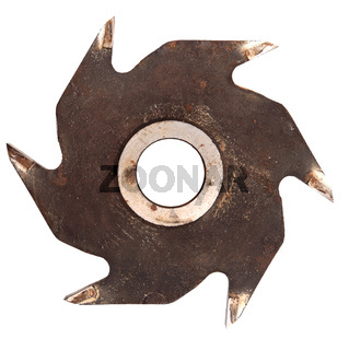 Old circular saw blade isolated on white