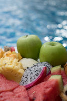 Fruit plate by hotel pool
