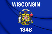3D Flag of Wisconsin, USA. 3D Illustration.