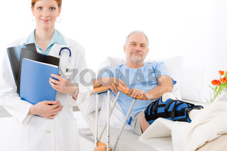 Hospital - female doctor patient broken leg